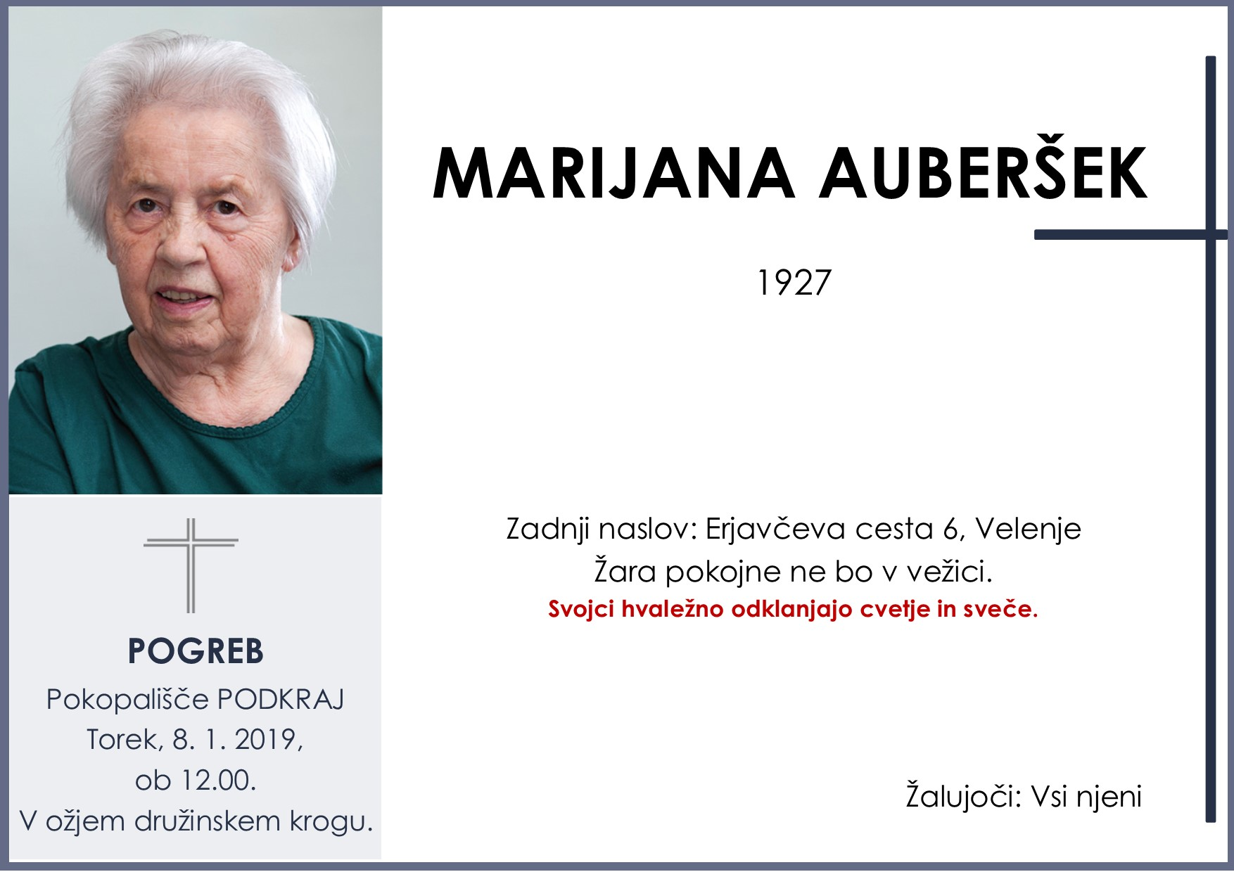 MARIJANA AUBERŠEK, Podkraj, 08. 01. 2019