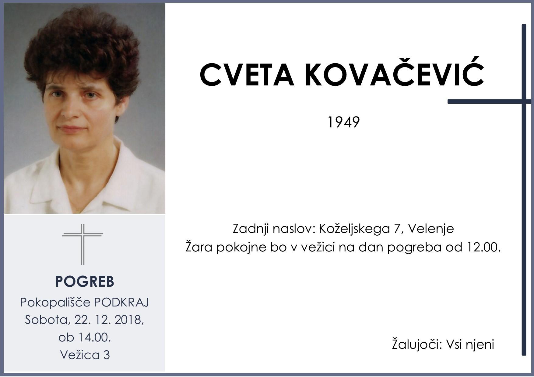 CVETA KOVAČEVIĆ, Podkraj, 22. 12. 2018