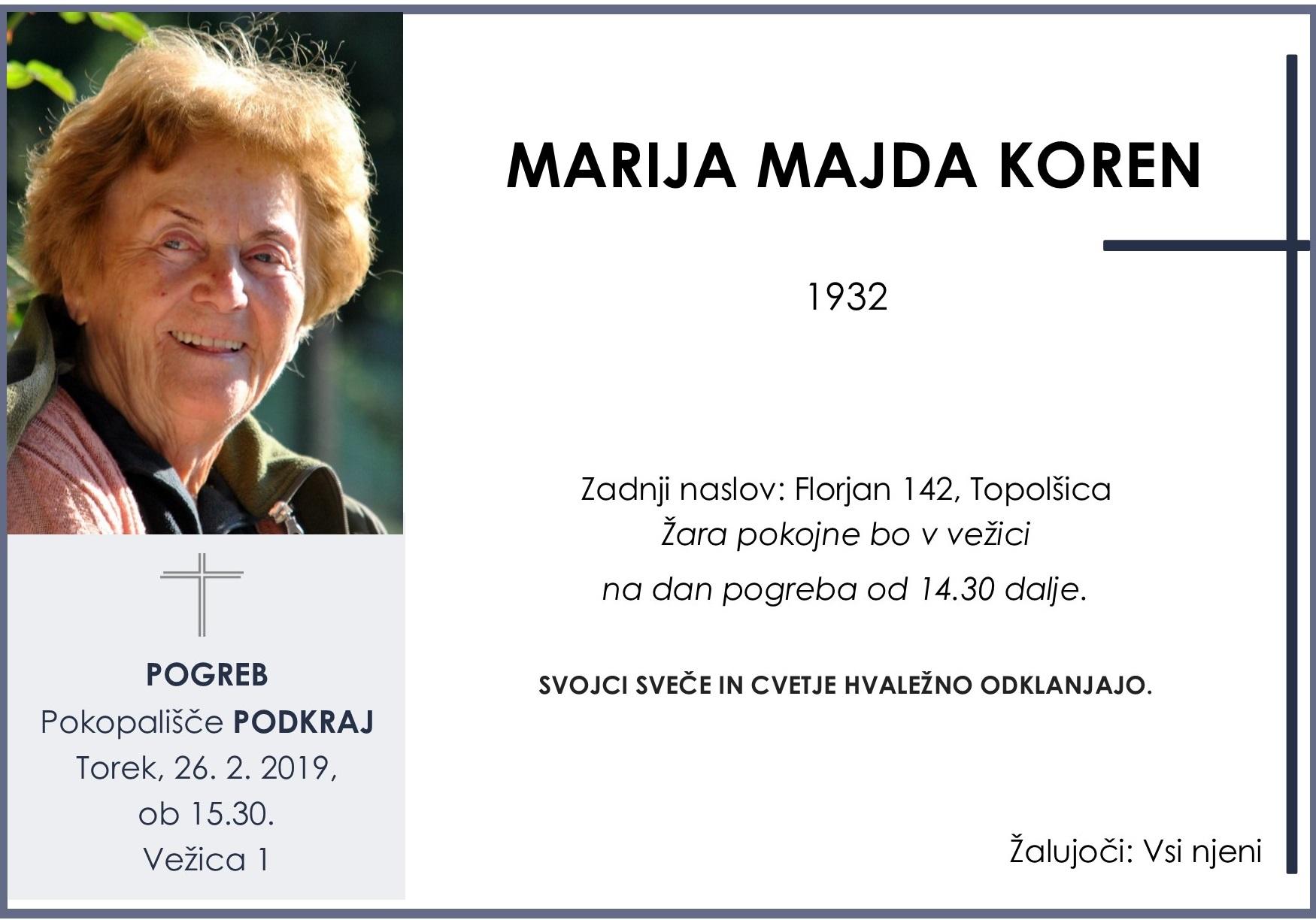 MARIJA MAJDA KOREN, 26. 02. 2019, Podkraj