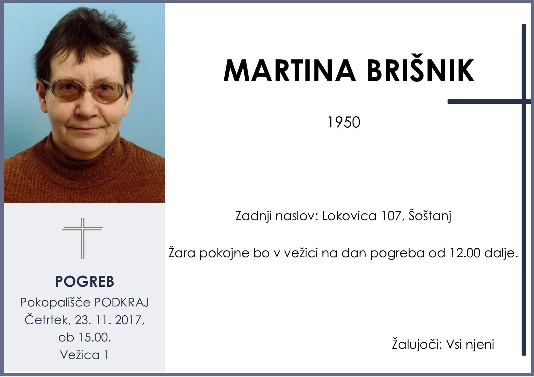 MARTINA BRIŠNIK, Podkraj, 23. 11. 2017