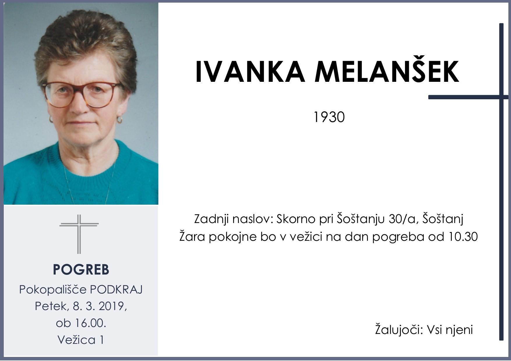 IVANKA MELANŠEK, Podkraj, 08. 03. 2019
