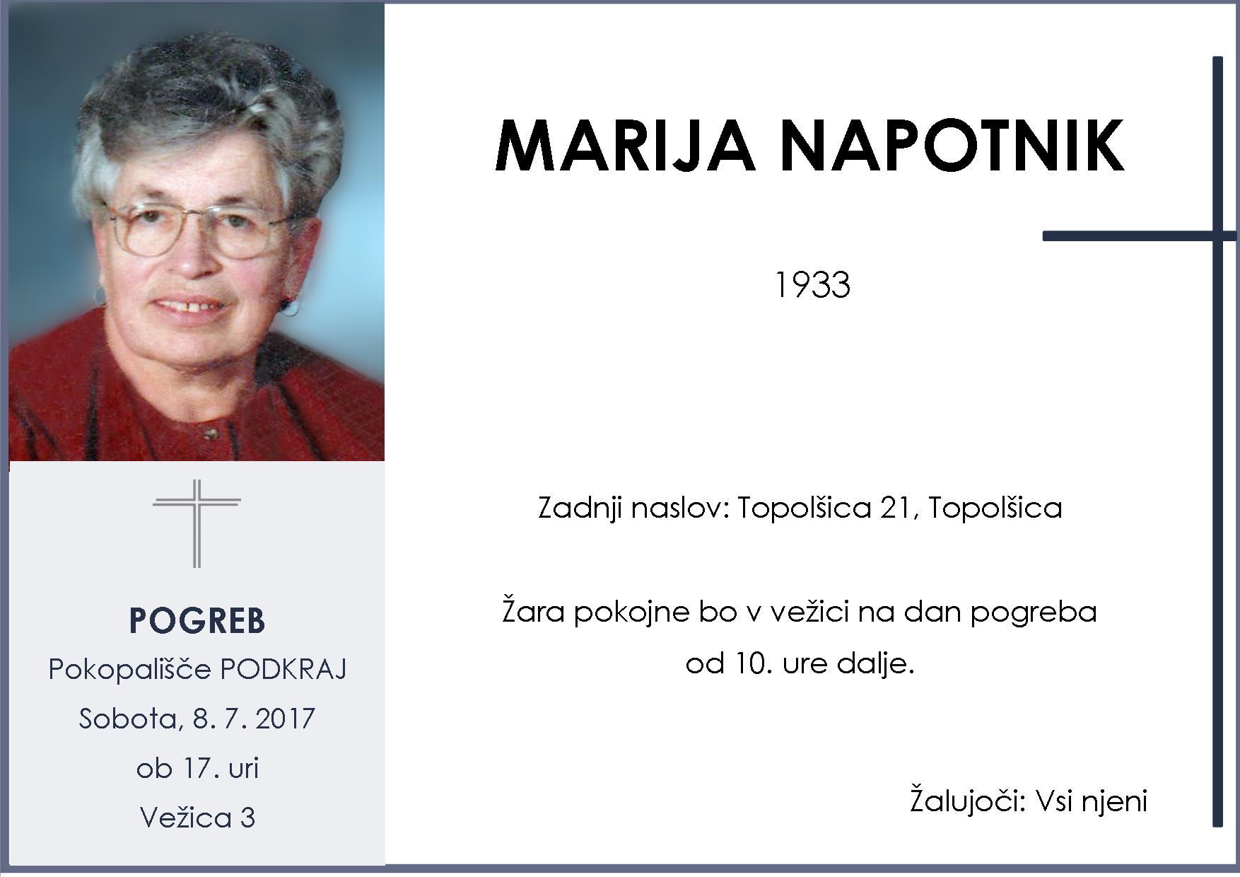 MARIJA NAPOTNIK, Podkraj, 8. 7. 2017