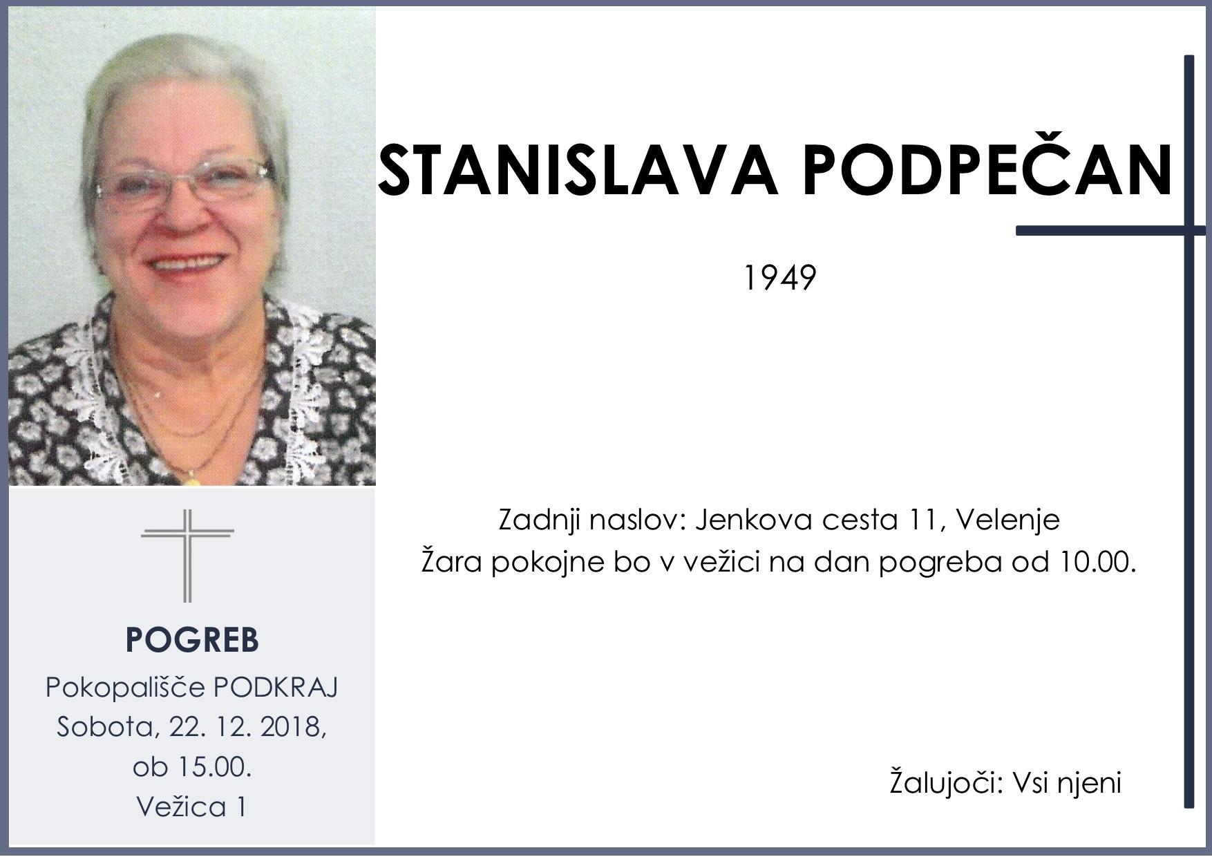 STANISLAVA PODPEČAN, Podkraj, 22. 12. 2018