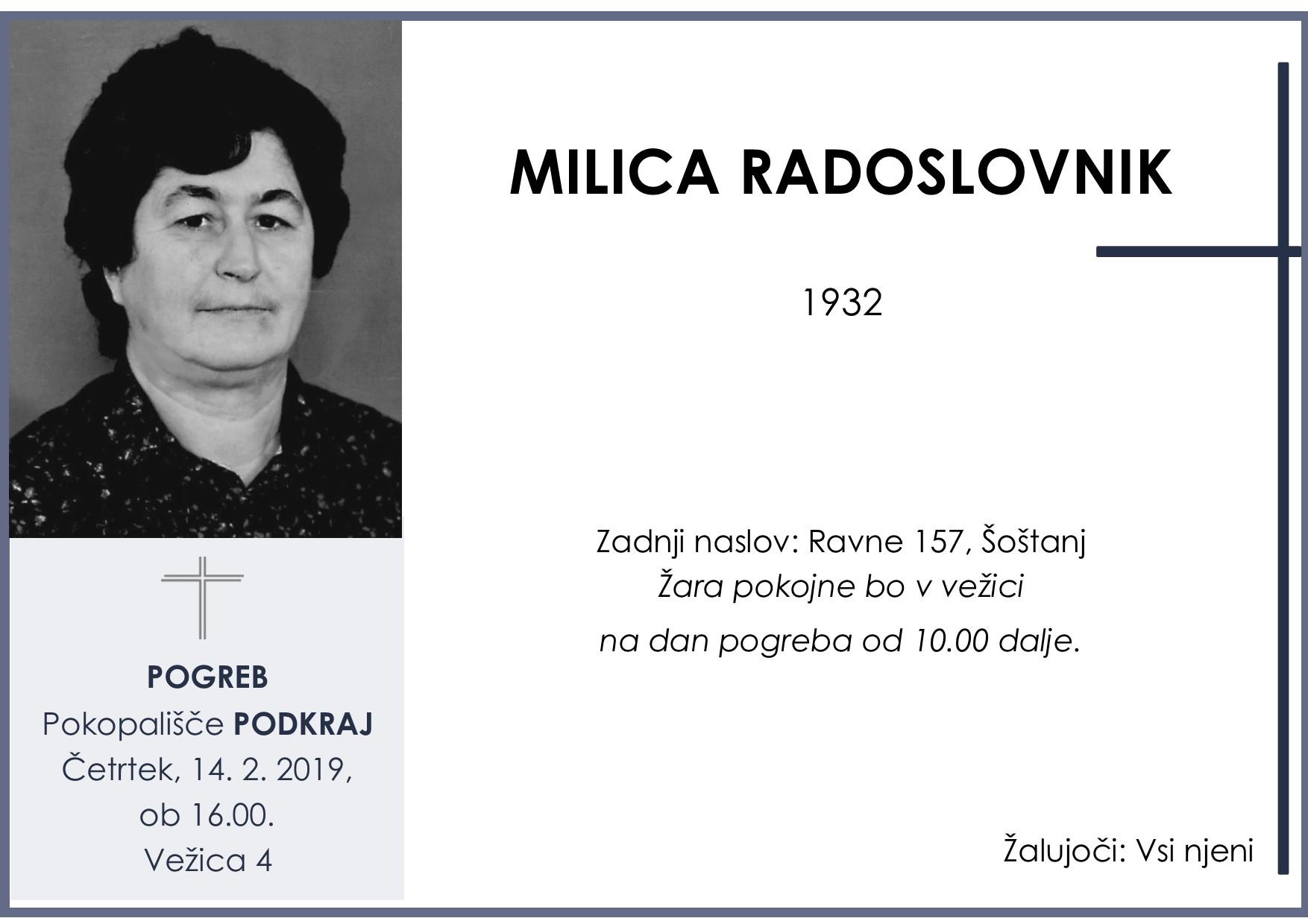MILICA RADOSLOVNIK, Podkraj, 14. 02. 2019