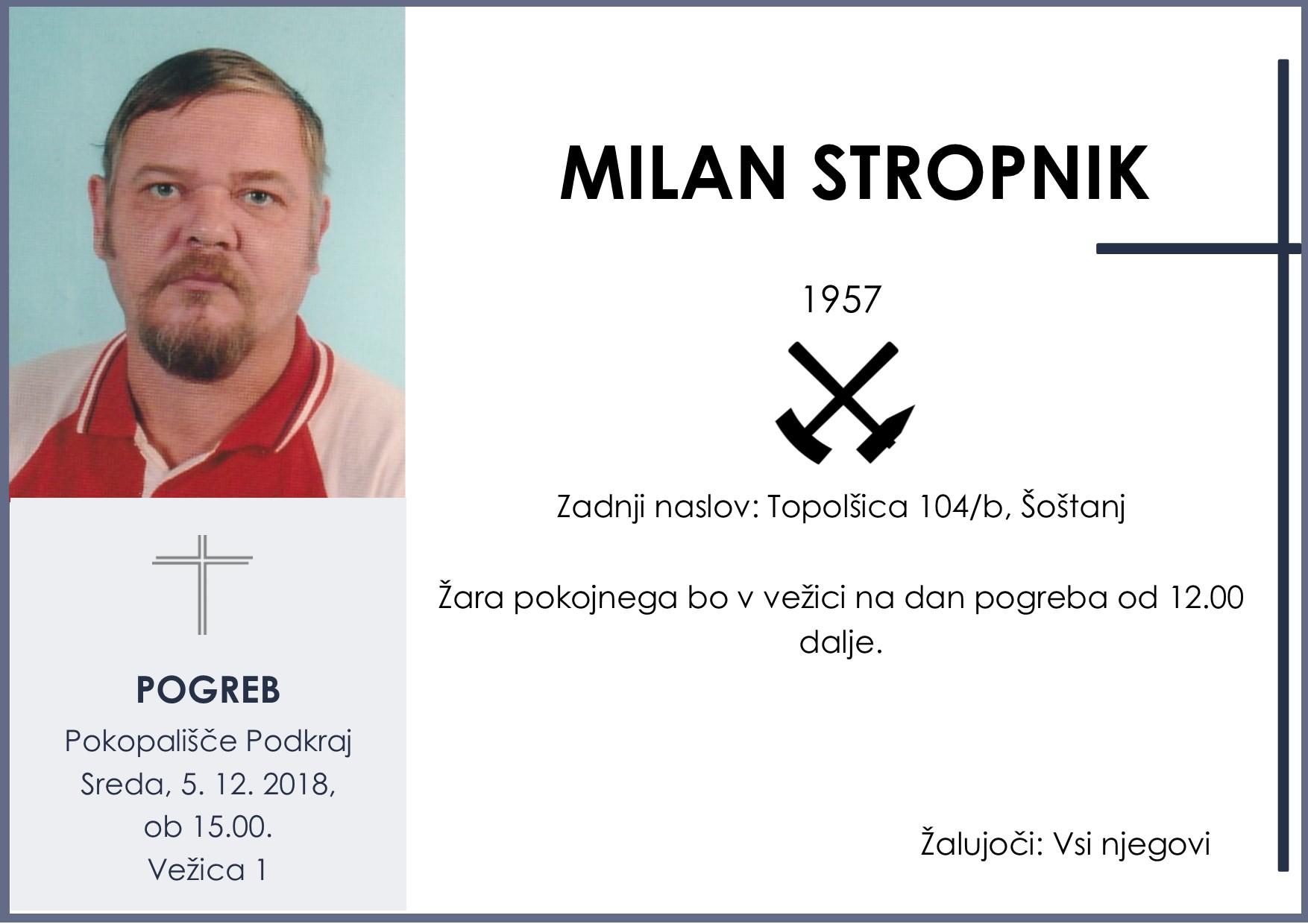 MILAN STROPNIK, Podkraj, 05. 12. 2018