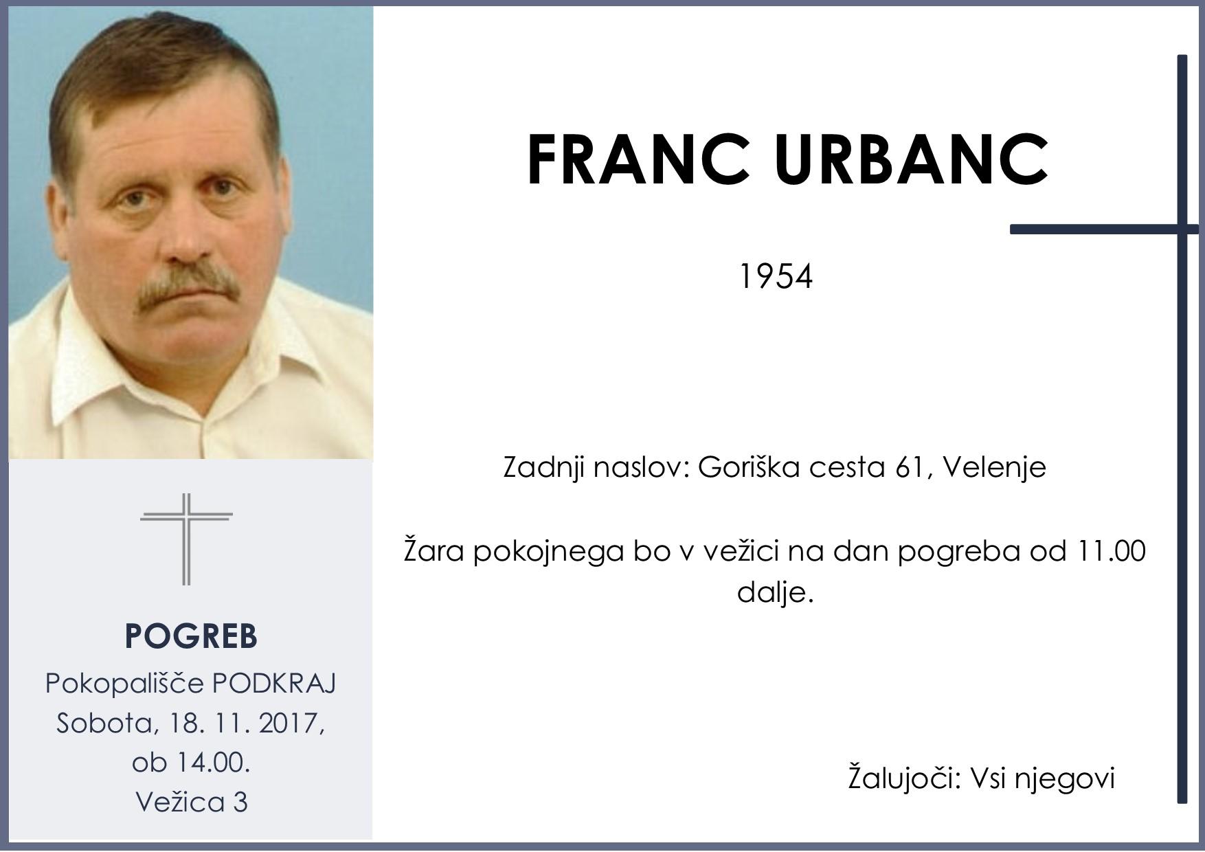 FRANC URBANC, Podkraj, 18. 11. 2017