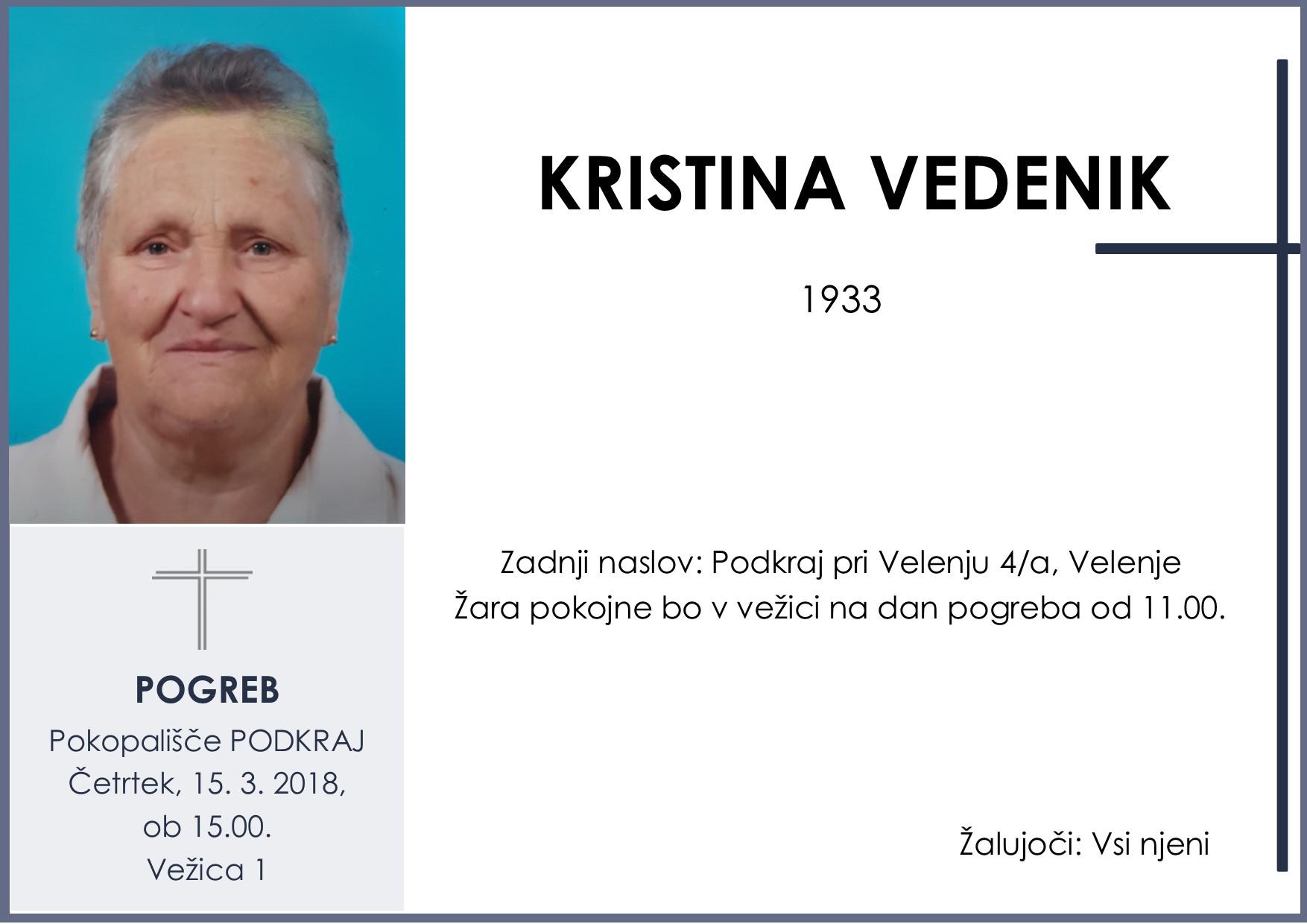KRISTINA VEDENIK, Podkraj, 15. 03. 2018
