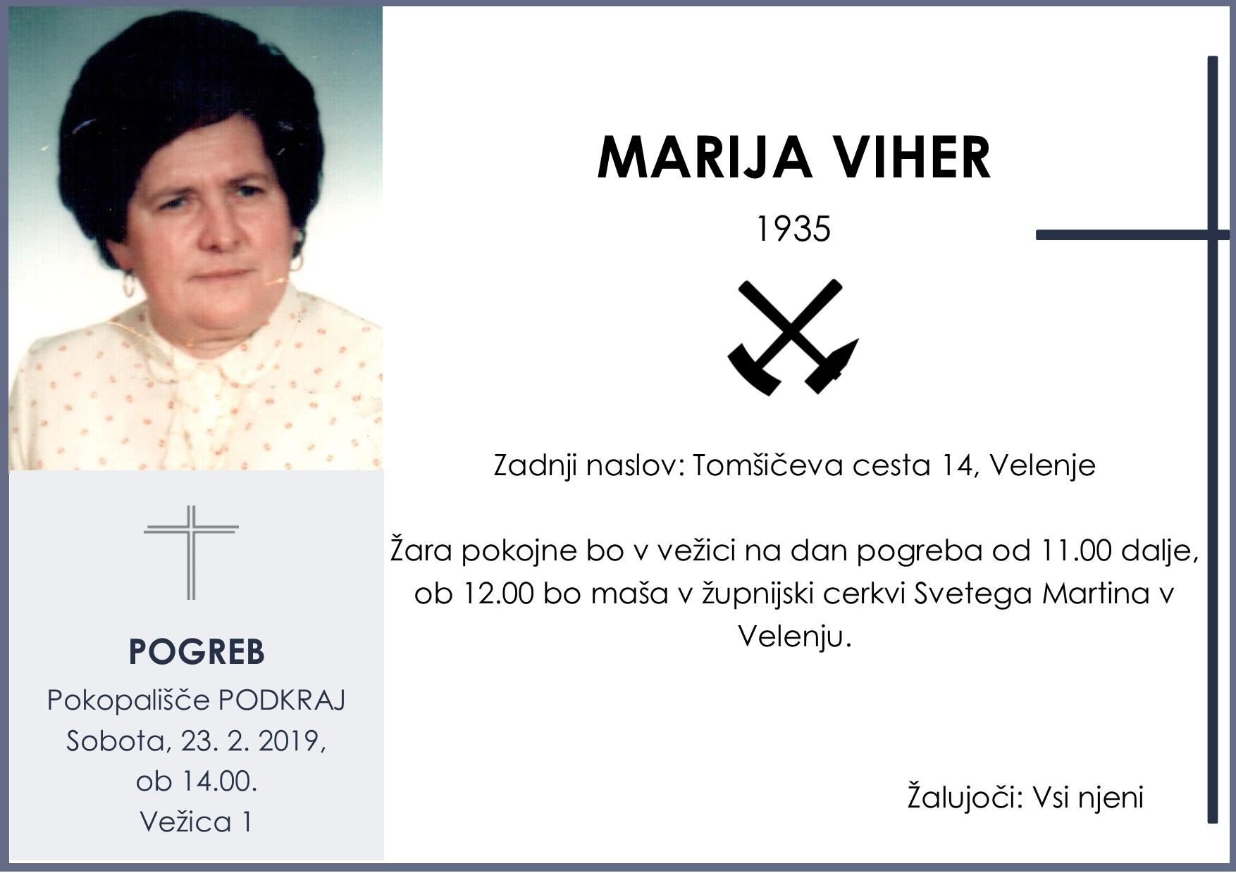 MARIJA VIHER, Podkraj, 23. 02. 2019