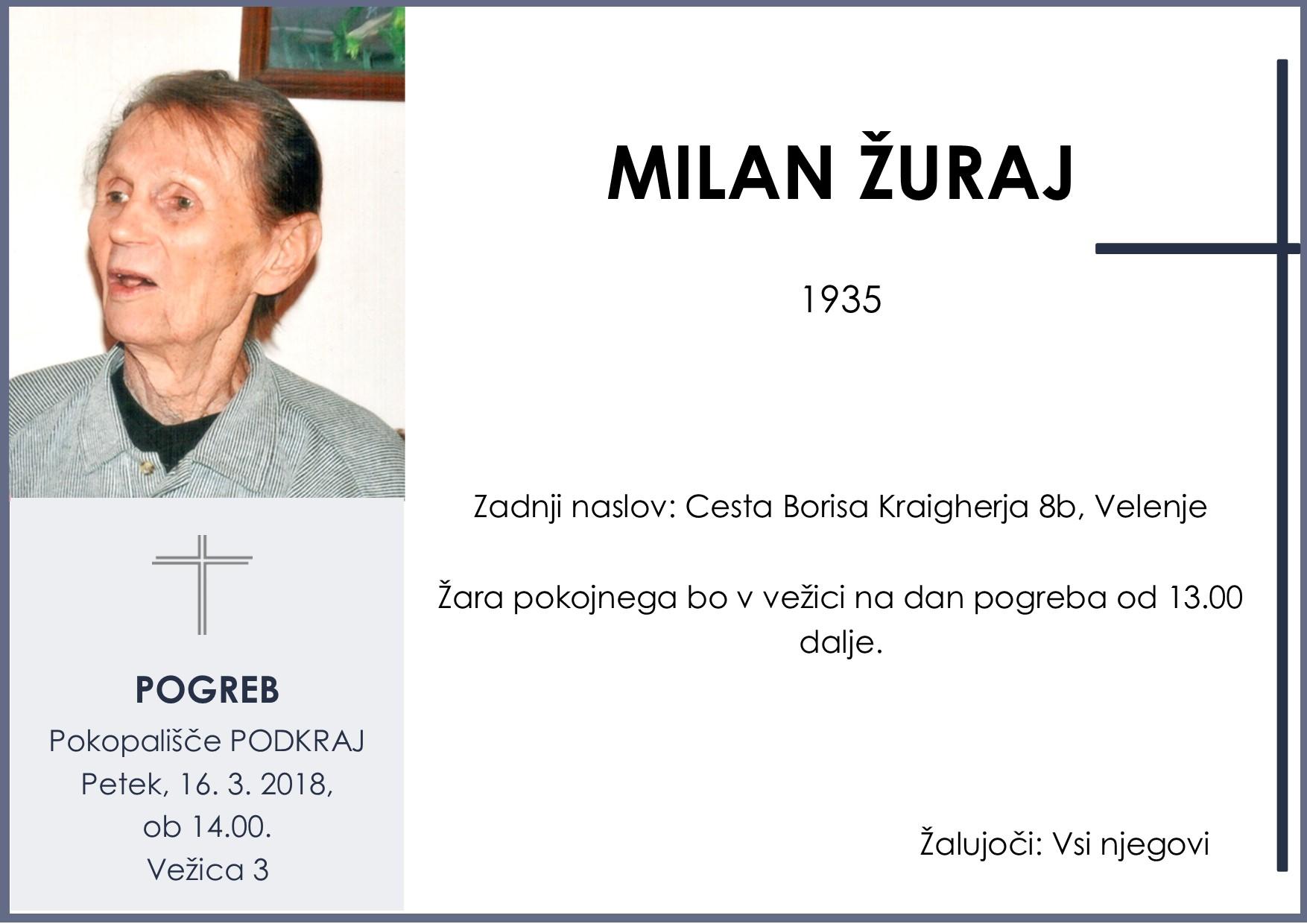 MILAN ŽURAJ, Podkraj, 16. 03. 2018