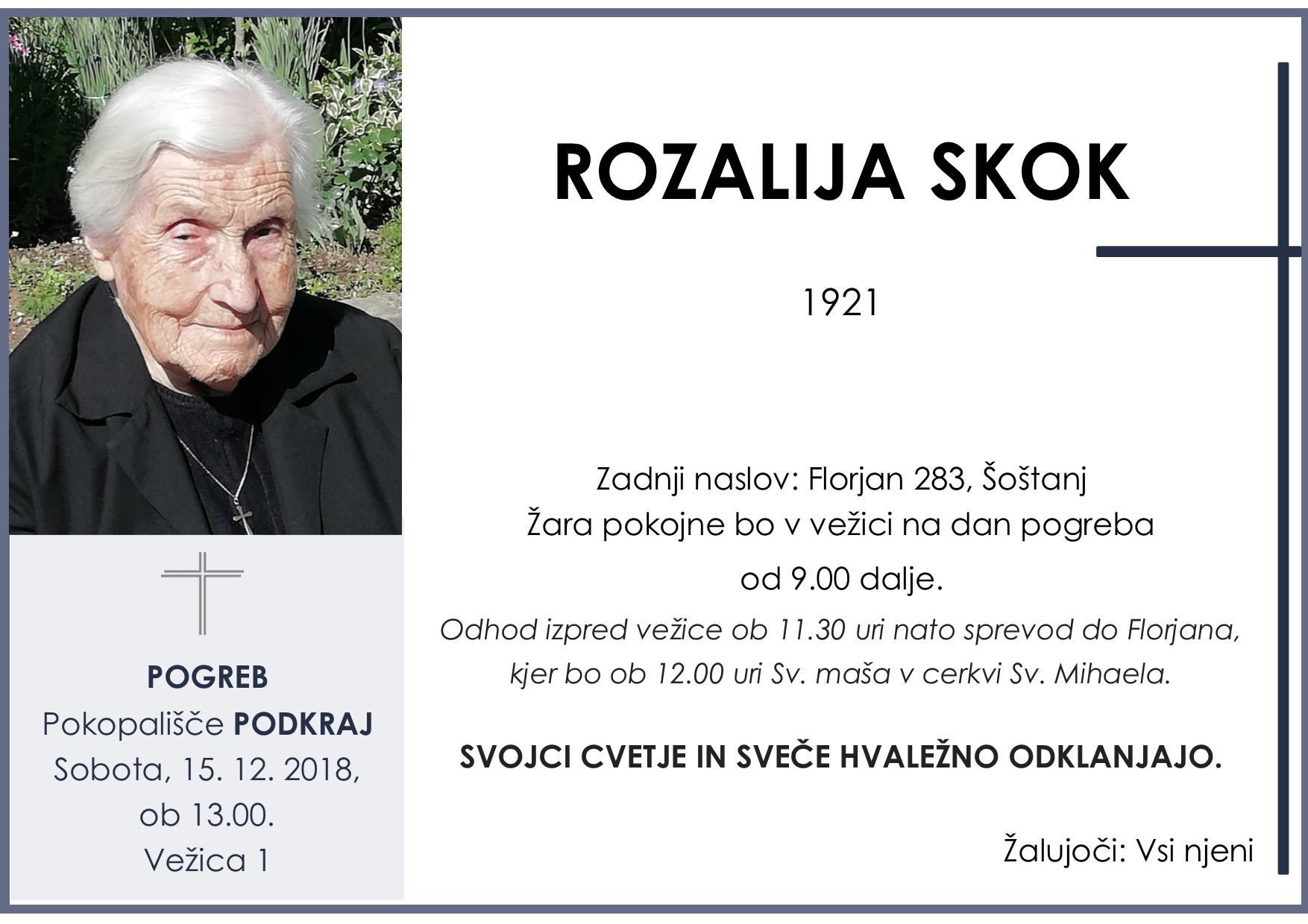 ROZALIJA SKOK, Podkraj, 15. 12. 2018