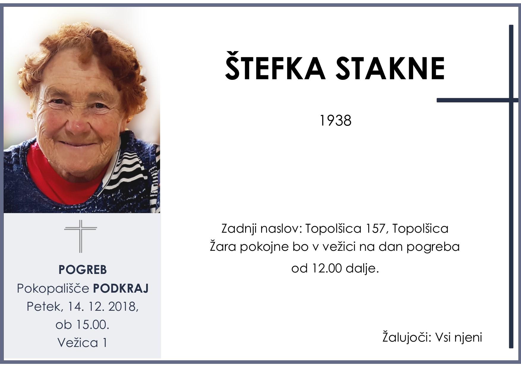 ŠTEFKA STAKNE, Podkraj, 14. 12. 2018