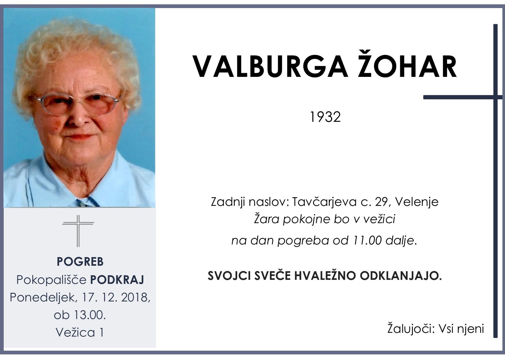 VALBURGA ŽOHAR, Podkraj, 17. 12. 2018